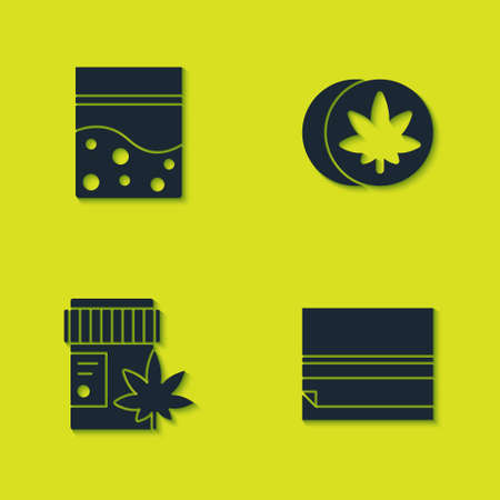 Set Plastic bag of cannabis, Rolling paper, Medical bottle with marijuana and Herbal ecstasy tablets icon. Vector