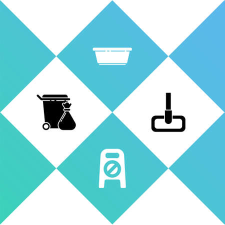 Set Trash can and garbage bag, Wet floor cleaning in progress, Plastic basin and Mop icon. Vector