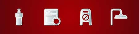 Set Dishwashing liquid bottle, Kitchen dishwasher machine, Wet floor and cleaning progress and Shower head icon. Vector