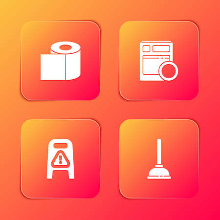Set Toilet paper roll, Kitchen dishwasher machine, Wet floor and cleaning progress and Rubber plunger icon. Vector