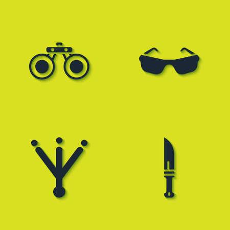 Set Binoculars, Hunter knife, Bird footprint and Glasses icon. Vector Ilustracja