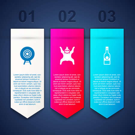 Set Target sport, Bear skin and Bottle of vodka. Business infographic template. Vector