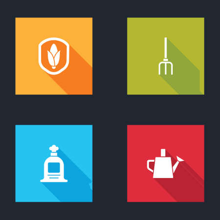 Set Shield corn, Garden pitchfork, Full sack and Watering can icon. Vector