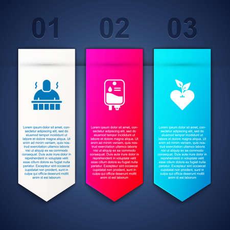 Set Sauna and spa procedures, IV bag and Heart. Business infographic template. Vector Ilustración de vector