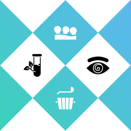 Set Laboratory glass and leaves, Sauna bucket ladle, Vacuum cans and Hypnosis icon. Vector