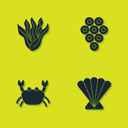 Set Seaweed, Scallop sea shell, Crab and Caviar icon. Vector