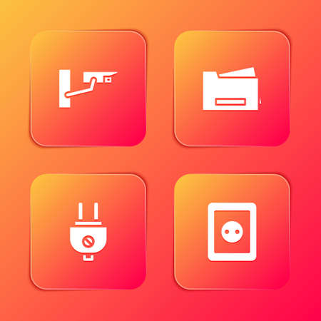 Set Security camera, Printer, Electric plug and Electrical outlet icon. Vector