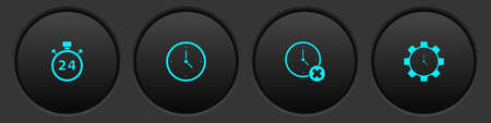 Set Stopwatch 24 hours, Clock, delete and Time Management icon. Vector