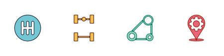 Set Gear shifter, Chassis car, Timing belt kit and Car service icon. Vector