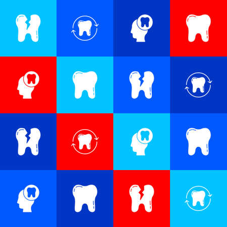 Set Broken tooth, Tooth whitening, Human head with and icon. Vector