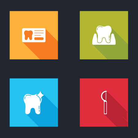 Set Dental card, Tooth, whitening and floss icon. Vector