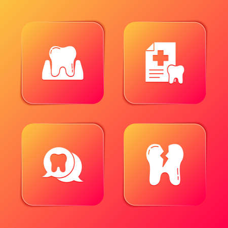 Set Tooth, Dental card, and Broken tooth icon. Vector