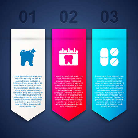 Set Tooth whitening, Calendar with tooth and Painkiller tablet. Business infographic template. Vector