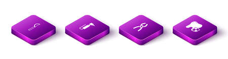 Set Isometric Dental floss, Tooth drill, pliers and protection icon. Vector  イラスト・ベクター素材