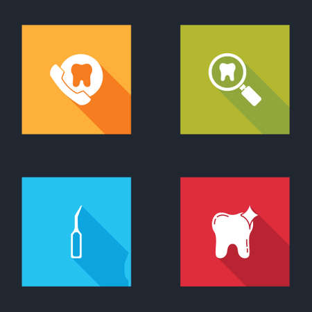 Set Online dental care, Dental search, explorer scaler and Tooth whitening icon. Vector