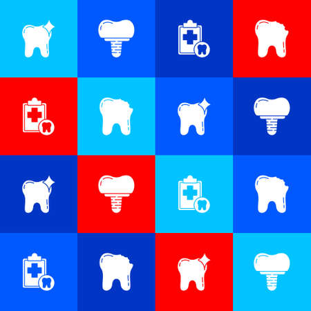 Set Tooth whitening, Dental implant, card and Broken tooth icon. Vector  イラスト・ベクター素材