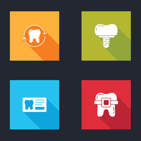 Set Tooth whitening, Dental implant, card and Teeth with braces icon. Vector  イラスト・ベクター素材
