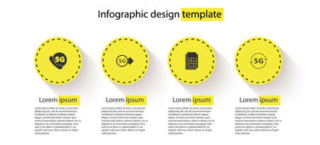 Set Phone with 5G network, , Sim card and . Business infographic template. Vector
