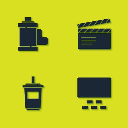 Set Camera film roll cartridge, Cinema auditorium with seats, Paper glass water and Movie clapper icon. Vector Ilustração
