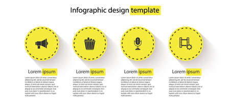 Set Megaphone, Popcorn in box, Microphone and Play Video. Business infographic template. Vector