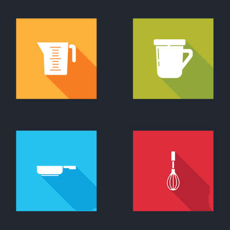 Set Measuring cup, Coffee, Frying pan and Kitchen whisk icon. Vector