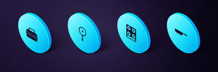 Set Isometric Frying pan, Gas stove, and Cooking pot icon. Vector