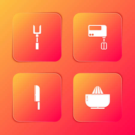 Set Barbecue fork, Electric mixer, Knife and Citrus fruit juicer icon. Vector