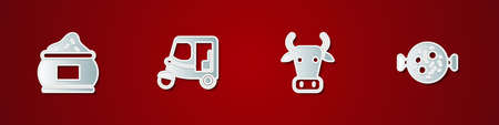 Set Indian spice, Taxi tuk tuk, Cow and Chicken tikka masala icon. Vector Illustration