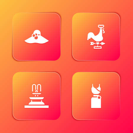Set Elegant women hat, Rooster weather vane, Fountain and Woman dress icon. Vector