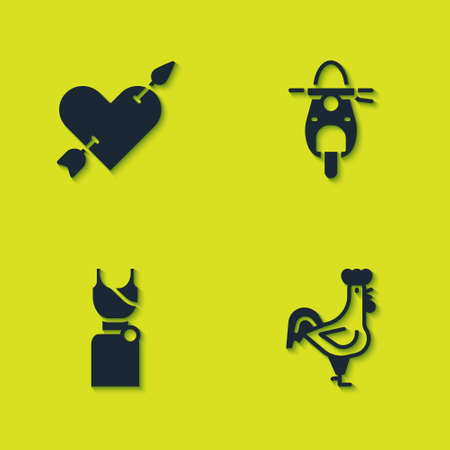 Set Amour with heart and arrow, French rooster, Woman dress and Scooter icon. Vector 向量圖像