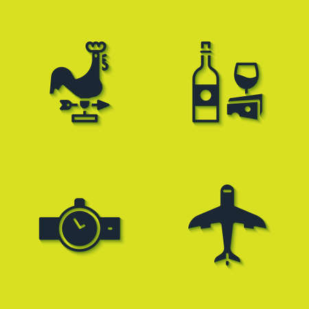 Set Rooster weather vane, Plane, Wrist watch and Wine bottle with cheese icon. Vector 向量圖像
