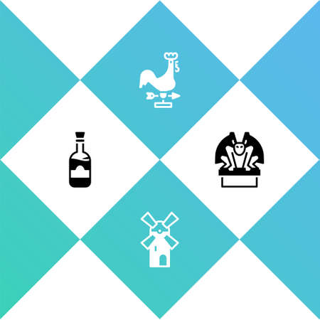 Set Bottles of wine, Windmill, Rooster weather vane and Gargoyle on pedestal icon. Vector