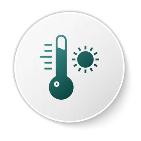 Green Meteorology thermometer measuring icon isolated on white background. Thermometer equipment showing hot or cold weather. White circle button. Vector Illustration Vettoriali