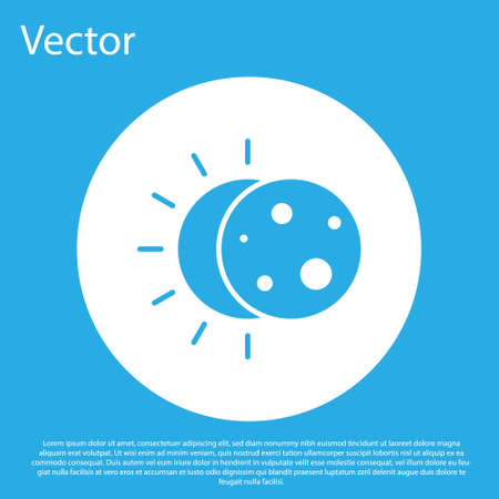 Blue Eclipse of the sun icon isolated on blue background. Total sonar eclipse. White circle button. Vector Illustration