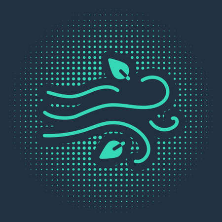 Green Wind icon isolated on blue background. Windy weather. Abstract circle random dots. Vector Illustration
