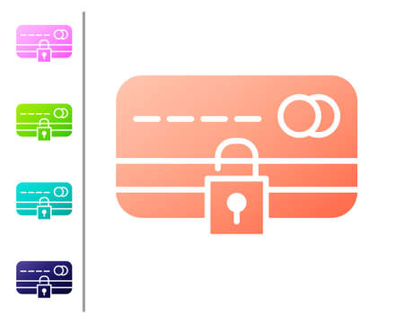 Coral Credit card with lock icon isolated on white background. Locked bank card. Security, safety, protection. Concept of a safe payment. Set color icons. Vector Illustration