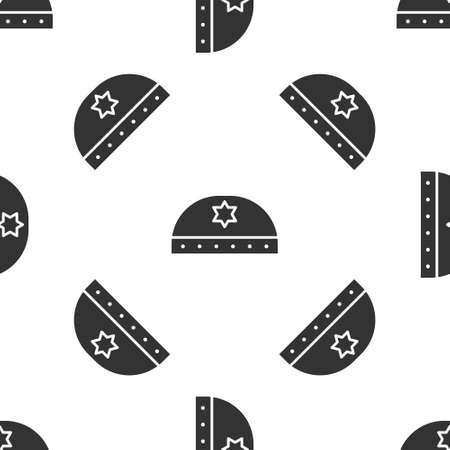 Grey Jewish kippah with star of david icon isolated seamless pattern on white background. Jewish yarmulke hat. Vector
