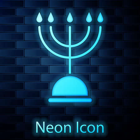 Glowing neon Hanukkah menorah icon isolated on brick wall background. Hanukkah traditional symbol. Holiday religion, jewish festival of Lights. Vector