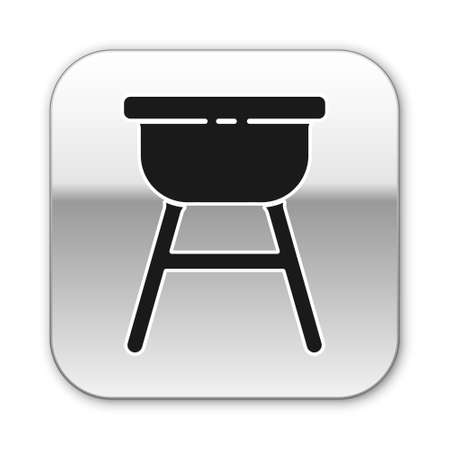 Black Barbecue grill icon isolated on white background. BBQ grill party. Silver square button. Vector Illustration