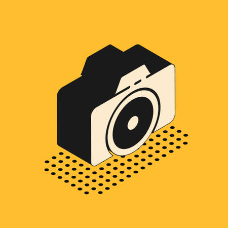Isometric Photo camera icon isolated on yellow background. Foto camera icon. Vector Illustration