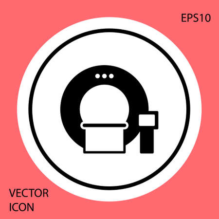 Black Tomography icon isolated on red background. Medical scanner, radiation. Diagnosis, radiology, magnetic resonance therapy. White circle button. Vector Illustration