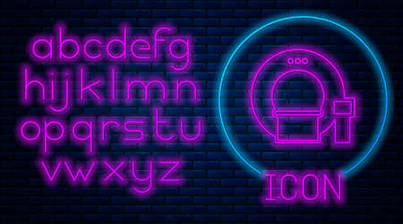 Glowing neon Tomography icon isolated on brick wall background. Medical scanner, radiation. Diagnosis, radiology, magnetic resonance therapy. Neon light alphabet. Vector Illustration