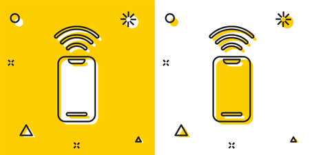 Black Wireless smartphone icon isolated on yellow and white background. Random dynamic shapes. Vector