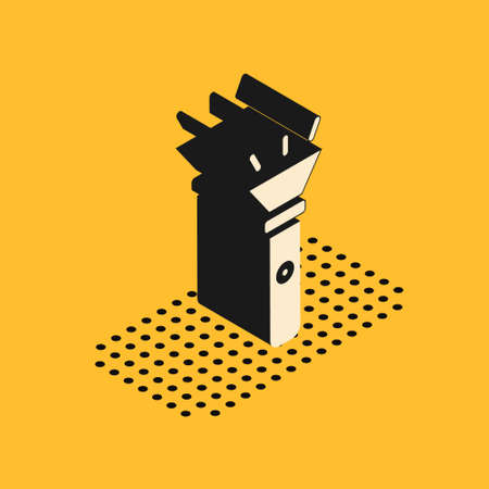 Isometric Flashlight icon isolated on yellow background. Vector