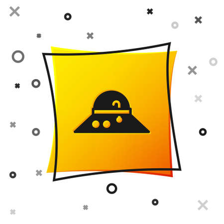 Black Fisherman hat icon isolated on white background. Yellow square button. Vector