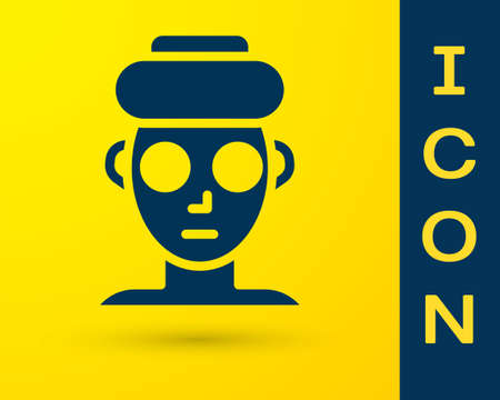 Blue Facial cosmetic mask icon isolated on yellow background. Cosmetology, medicine and health care. Vector