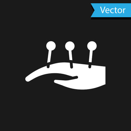 White Acupuncture therapy on the hand icon isolated on black background. Chinese medicine. Holistic pain management treatments. Vector