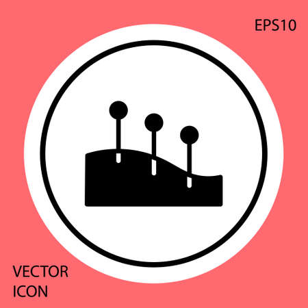 Black Acupuncture therapy icon isolated on red background. Chinese medicine. Holistic pain management treatments. White circle button. Vector Illustration