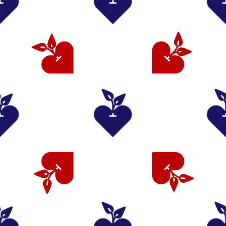Blue and red Heart icon isolated seamless pattern on white background. First aid. Healthcare, medical and pharmacy sign. Vector