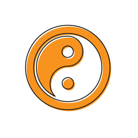 Orange Yin Yang symbol of harmony and balance icon isolated on white background. Vector